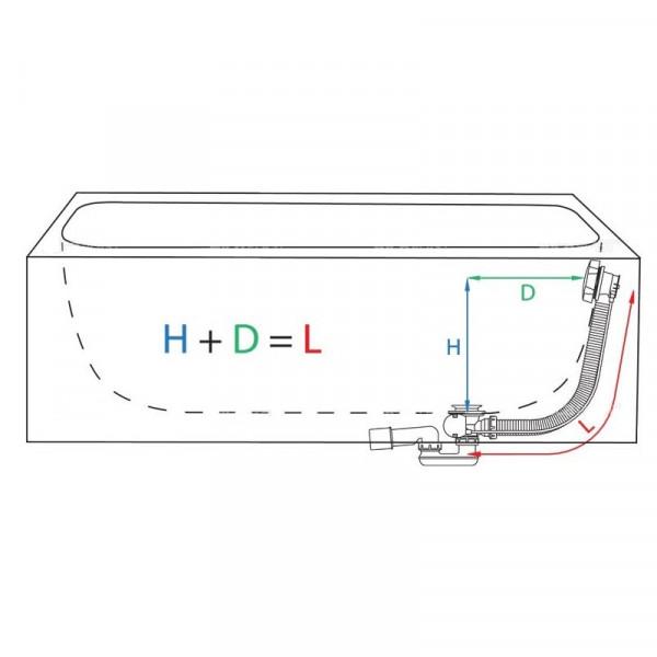 Сифон (обвязка) для ванны полуавтомат Alcaplast A55K