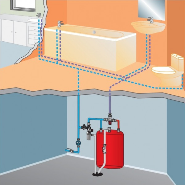 """Термостатический смесительный клапан для систем горячего водоснабжения 3/4"""" Watts AQUAMIX"""