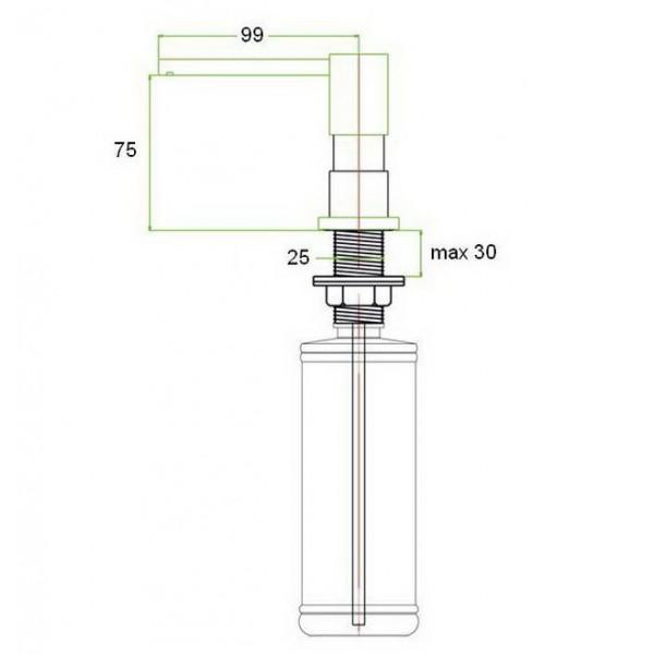 Встраиваемый дозатор для жидкого мыла ZR-22 BR Zorg (бронза)