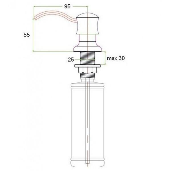 Встраиваемый дозатор для жидкого мыла ZR-21 BR Zorg (бронза)